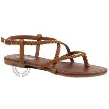 abab0d73 New Womens Braided Strappy Gladiator Thong T Strap Flat Faux Leather Sandals