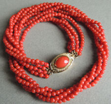 Rare OXBLOOD Natural Undyed Red Coral Bead Necklace 18k Gold Clasp