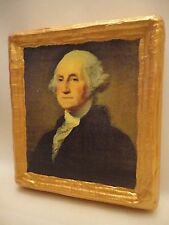 George Washington American President Gold Art Icon on Genuine Pine Wood Plaque