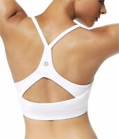 RUNNING GIRL Stappy Sports Bra for Women Sexy Open Back, White, Size X-Large cHu