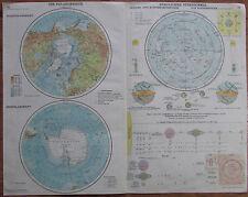 Die Polargebiete, Nördlicher Sternhimmel - Karte Landkarte aus 1928