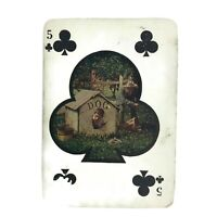 Vintage 1905 Postcard Five Of Clubs Boy In Dog House Comic Humor Playing Cards