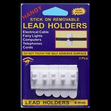 Lead Holders Stick-On 5 Pack 4mm Electrical Cables,Xmas Lights,Computers,Cords