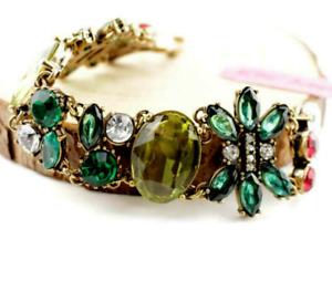 Jewelry Fashion Betsey Johnson Enamel Rhinestone Flower crystal Chain Bracelet