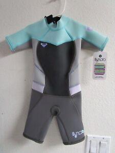 New ROXY Junior Girls Sz 2 2G Water Sport Sea Dive Snorkel Spring Wet Suit Teal