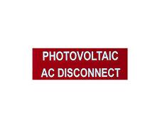 "Solar label plastic placard 3.5x1"" engraved Photovoltiac AC Disconnect"
