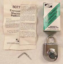 Sargent & Greenleaf 8077 Key Changing Combination Padlock - FREE SHIPPING