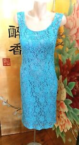 After Eight Vintage Beaded Lace Turquoise Dress - Size 12