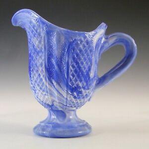 Victorian Blue & White Malachite / Slag Glass Creamer Jug