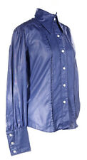 70s Sharkskin Blue Shiny Shirt by Langtry - Long Sleeve NWT - sz M - Hey Viv