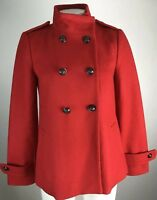 Banana Republic XS Women's Pea Coat Jacket Red Black Buttons Double Breasted