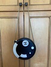 "Chanel Handbag Black & White Circle/Round 8-3/4"" In Diameter"