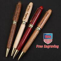 Personalized Maple Wood Ballpoint Pens set Customized Laser Engraved bulk pens