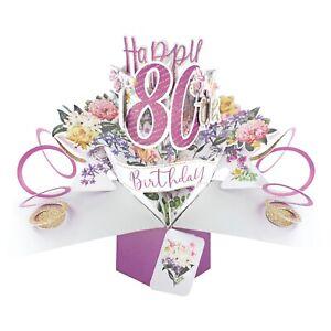 80th Birthday Card 3D Pop Up Card Female Mum Gran Friend Gift Card
