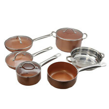 10 Piece Cookware Copper Pan Set PFOA PTFE Free Induction Ready Non Stick