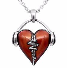 Controse Heart Beat Headphones Music Red Heart Steel Pendant Necklace CN237