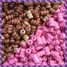 100 Perles Legno Tubo 2 coloris Marrone Scurire / Fucsia