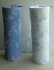 Two (2) Decorative Blue/White Floral Wine Bottle Box Cylinder Tube Gift Bag