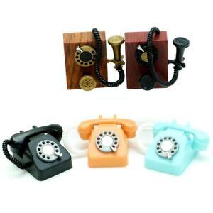 Blind Box Miniature Barbie Dollhouse Rotary Corded Retro Phone 1 Random Toy