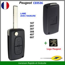 Coque Clé Peugeot 2 Boutons 107 207 307 308 407 607 CE0536 + LOGO Plip + NEUF +
