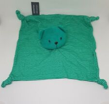 Doudou plat vert Ours rayé rayures  Orchestra Premaman tissu noeuds NEUF