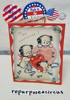 """❤🐕Vintage Die Cut Valentine """"Everything about you POEM"""" Puppies Puppy Love Dogs"""