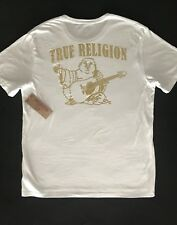TRUE RELIGION NWT Men's Tee Gold Buddha White 100% Cotton Size XL New $69.00