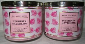 Bath & Body Works 3-wick Scented Candle Lot Set of 2 SUNSHINE & DAYDREAMS