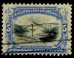 US Sc#297 1901 5c Pan American Niagara Bridge F-VF Centered with Tear Used