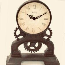 Clock Steampunk Industrial Gears Black Resin Iron Look Desk Mantel Battery New