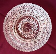 Vtg Crystal Cut Glass Candy Dish Beautiful Star Pattern w/ Rounded Sawtooth Edge