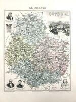 1893 Antique Map of Cote D'Or Dijon France French Old Regional Hand Coloured