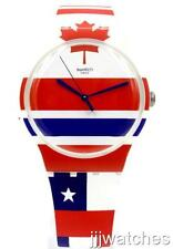New Swiss Swatch Flagtime White-Multi-colors Silicone Watch 42mm SUOW111 $70