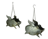 Distressed Galvanized Metal Flying Pig Hanging Planter Set of 2 - Indoor/Outdoor