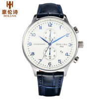HOLUNS 50m Waterproof Date Display Leather Band Watch Men Wrist Watches Reloj