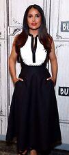 New NWT Temperley London Fountain Lace Trim Bow Black White Midi Dress UK 8 US 4