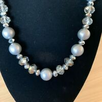 M&S Grey silver Pearl Bead Necklace Costume Jewellery Occasion Statement Sparkly