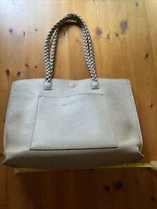 Large Taupe Gray Tote Handbag Purse Braided Straps