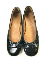 Dansko women's black patent shoe size 7.5 M block heel, bow toe, comfort shoes