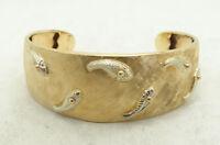 "18K Yellow & White Gold Textured 19.5mm Wide 6"" Cuff Bracelet 15.4g D783"
