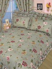 SINGLE BED OPHELIA FRILLED DUVET COVER SET OLIVE GREEN FLORAL PINK GREY