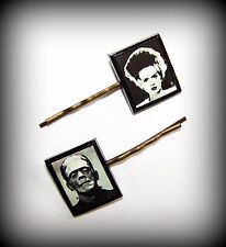 Handmade Polymer Clay Frankenstein and Bride Bobby Pin Set