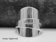 CHUNKY VICTORIAN SOLID STERLING SILVER SPOON RING SIZE:  T
