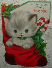 UNUSED - Christmas Kitten in a Stocking - 50's Vintage HALLMARK Christmas Card