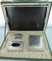 .SUPER RARE EARLY 1900s JAPANESE 950 STERLING SILVER SMOKERS SET  ORIGINAL CASE