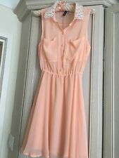 Peach Sleeveless Shirt Dress With Beautiful Lace Collar H&M Size 6