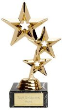 "Gold Triple Star Multisport, Dance Trophy,Award,178mm (7""),FREE Engraving"