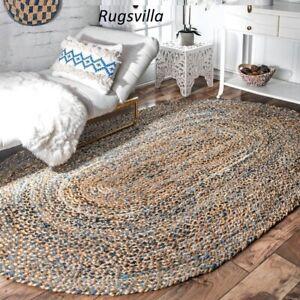 Rug Jute & Denim Braided Natural Oval Hemp Modern Living Floor Carpet Boho Rugs