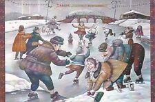 RARE Ice rink figure skaters winter by Anzhela Dzherih Russian modern postcard