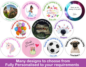 36x Round Personalised School Lunch Bag Box Birthday Stickers Labels Kids Dinner